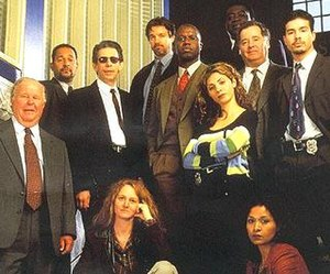 Homicide: Life on the Street - Several regulars from across the series's seven-year run. Left to right: Ned Beatty, Clark Johnson, Richard Belzer, Melissa Leo, Kyle Secor, Andre Braugher, Callie Thorne, Yaphet Kotto, Peter Gerety, Toni Lewis, Jon Seda.