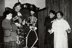 Herbert Evans (actor) - Herbert Evans (second from left) appears with a scared Three Stooges in the film The Hot Scots.