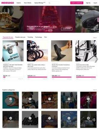 Indiegogo - Image: Indiegogo screenshot