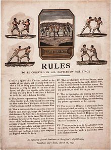 A broadside featuring five images of gloved contests above the seven distinct regulations that were authored by Heavyweight Champion Jack Broughton