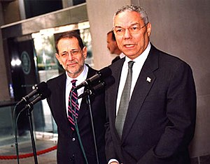 High Representative of the Union for Foreign Affairs and Security Policy - Javier Solana with US Secretary of State Colin Powell in 2003