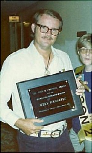 John W. Campbell Award for Best New Writer - Jerry Pournelle with the first Campbell Award at the 1973 Hugo Awards Banquet