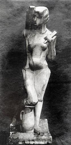 Joseph Csaky, 1912, Danseuse, Femme à l'éventail, Femme à la Cruche, Originalputz, Foto aus dem Csaky-Archiv AC.110.jpg