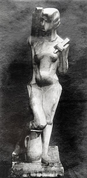 Art Deco - Joseph Csaky, 1912, Danseuse (Femme à l'éventail, Femme à la cruche), original plaster, exhibited at the 1912 Salon d'Automne and the 1914 Salon des Indépendants, a Proto-Art Deco sculpture
