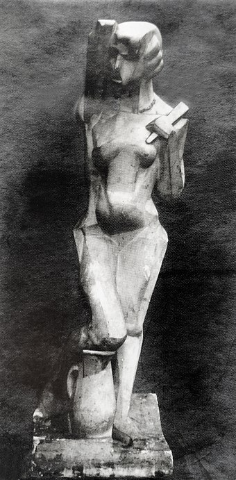 Joseph Csaky, 1912, Danseuse (Femme a l'eventail, Femme a la cruche), original plaster, exhibited at the 1912 Salon d'Automne and the 1914 Salon des Independants, a Proto-Art Deco sculpture Joseph Csaky, 1912, Danseuse, Femme a l'eventail, Femme a la cruche, original plaster, photo from Csaky archives AC.110.jpg