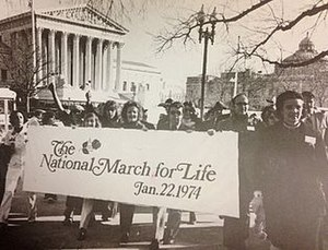 March for Life (Washington, D.C.) - Demonstrators of the first March for Life in Washington, D.C. on January 22, 1974, a year after Roe v. Wade was passed