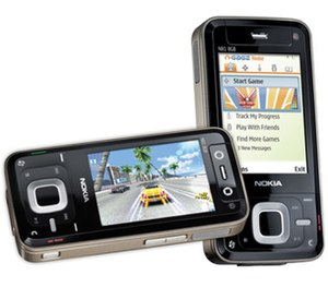 N-Gage (service) - An official promotional image during the 29 August 2007 announcement: The N-Gage application home screen (right) and a game being played (left) on a Nokia N81.