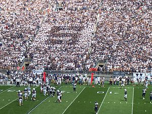 "Beaver Stadium - The Senior Section, otherwise known as the ""S-Zone,"" dressed to form the letter ""S"""