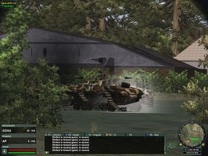 World War II Online -  With its radiator steaming, and with both tracks blown off, a Stug III Ausf G has effectively been disarmed by an onlooking M3A3 Stuart.