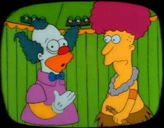 "Sideshow Bob - Sideshow Bob in his brief first appearance in ""The Telltale Head"". His design was simple compared to later versions and would be refined for his appearance in ""Krusty Gets Busted""."