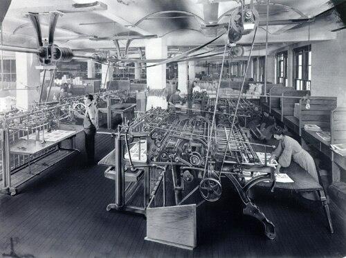 Street & Smith bindery room circa 1910