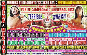 CMLL Super Viernes (August 2012) - Official poster advertising the finals of the 2012 Universal Championship tournament
