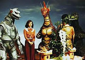 Terror of Mechagodzilla - A Shinto priest performs a purification ceremony prior to the start of filming.