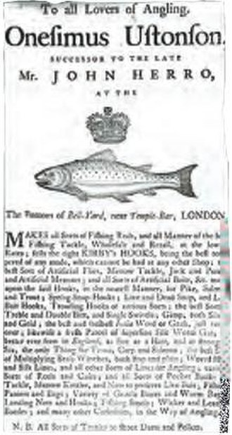 Fly fishing - Trading card of the Ustonson company, an early firm specializing in fishing equipment, and holder of a Royal Warrant from the 1760s.