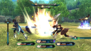 Tales of Xillia - Tales of Xillia uses the Dual Raid Linear Motion Battle System during battles. From left to right, the bottom screen displays the Linked Artes Gauge, character portraits and status, and the link supporting character.