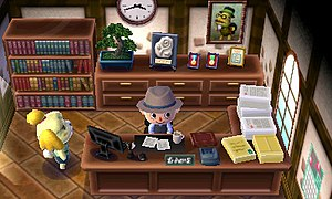 Animal Crossing: New Leaf - A player as town mayor with his assistant Isabelle