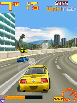 Mobile 3D Graphics API - Screenshot of Asphalt 3: Street Rules, showing the capabilities of the Mobile 3D Graphics API.