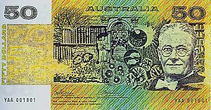 Australian fifty-dollar note - The front of the note