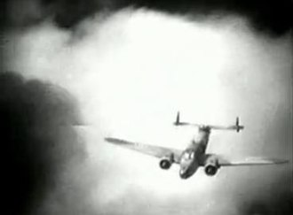 Bomber's Moon - With only a limited budget, all aerial sequences in Bomber's Moon, were completed with special effects and model work, such as this one of a Lockheed Hudson. (Screenshot)