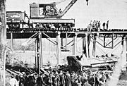 A train wreck at the Corydon Junction's Southern Trestle. Jan. 19 1902