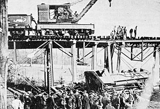 Harrison County, Indiana - A train wreck at the Corydon Junction's southern trestle, January 19, 1902