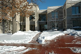 Ellis Library - View of the library's west entrance which faces Ninth Street and Conley.