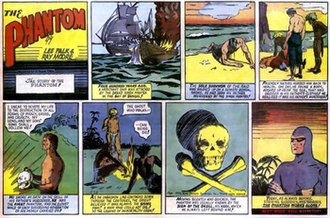 Sunday comics - An example of an action-adventure strip is The Phantom (May 28, 1939). With Ray Moore art, this was the first Phantom Sunday strip.