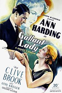 <i>Gallant Lady</i> (1934 film) 1933 film by Gregory La Cava