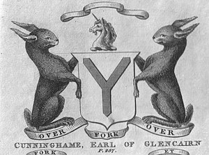 Earl of Glencairn - The coat of arms of the Cunninghames, Earls of Glencairn as recorded in 1820 (Robertson)