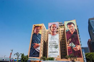 Development of Grand Theft Auto V - An advertisement for the game at the Hotel Figueroa in Los Angeles