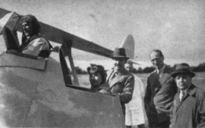 Harald Penrose - Harald Penrose (far left) Sir Ernest Petter (gunner's cockpit) Geoffrey T.R. Hill (pterodactyl designer) Mr Mettam, Capt. Stuart Keep (Pilot of the ill fated Westland Dreadnought)(far right)