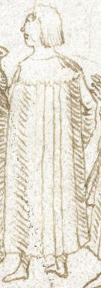 Hugh Denys - Hugh Denys, representation (i.e. not a portrait or likeness) drawn in 1509 by Sir Thomas Wriothesley (d. 1534). Detail from image below, deathbed of King Henry VII (British Library Add.MS 45131, f.54)