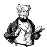 drawing of the head and torso of a bald white man of mature years, holding an open book, with a wry facial expression