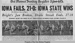 Johnny Bright incident - Johnny Bright Incident – Oct. 21, 1951 Des Moines Register newspaper cover showing Robinson and Ultang photo sequence