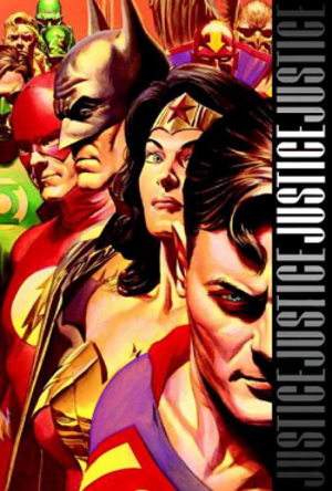 Justice (DC Comics) - Cover to the Absolute Justice hardcover edition (2009). Art by Alex Ross.