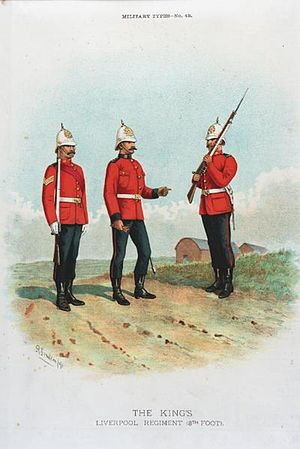 King's Regiment (Liverpool) - An officer, sergeant and private in full dress uniform, by Richard Simkin. (Dated 1891)
