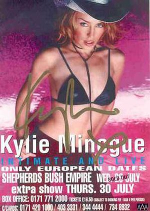 Intimate and Live (concert tour) - Promotional poster for the tour, signed by Minogue