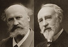 head shots of two 19th century professors, bearded and balding