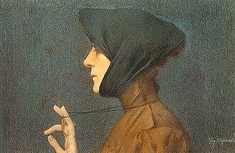 Lucien Lévy-Dhurmer - La Femme à la Médaille ou Mystére/Woman with a Mysterious Medallion  (1896) by Lucien Lévy-Dhurmer. Collection of the Musée d'Orsay, Paris