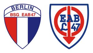 SV Lichtenberg 47 - DDR era logos of BSG EAB 47 Berlin ca. 1979–90 and BSG EAB 47 Lichtenberg ca. 1969–78