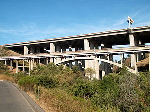 Los Peñasquitos Creek Arch Bridge - Original Los Peñasquitos Creek Arch Bridge (foreground) and new I-15 bridge.