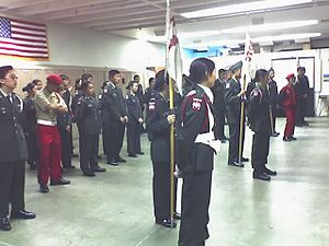 Lowell High School (San Francisco) - Lowell JROTC indoor review in May 2005.