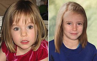 Disappearance of Madeleine McCann - Madeleine in 2007, aged three, and forensic artist's impression of what she may have looked like in 2012, aged nine