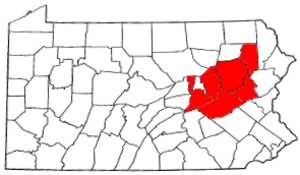 Molly Maguires - Location of the counties in northeastern Pennsylvania where the Molly Maguires were active