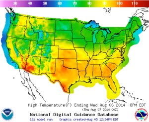 Model output statistics - Gridded MOS daytime high temperature over the conterminous United States for 6 August 2014.