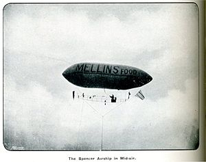 Aerial advertising - Spencer's 1902 airship in flight, showing the advertising for Mellin's Food