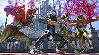 Ninja Gaiden II - Ryu Hayabusa fighting enemies in Ninja Gaiden II