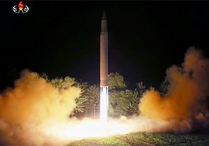 2017 North Korea crisis - North Korea's Hwasong-14 launch on July 28, 2017, as reported by Korean Central Television.