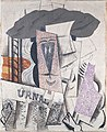 Pablo Picasso, 1913-14, Student with a Newspaper, plaster, oil, Conté crayon, and sand on canvas, 73 x 59.7 cm, Metropolitan Museum of Art.jpg