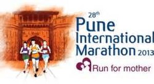 "Pune International Marathon - 2013 logo with theme of ""Run for Mother"""
